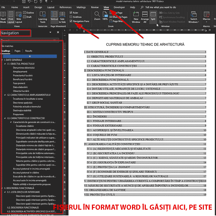 model memoriu tehnic de arhitectura cuprins activare panou de navigare in textul pre-formatat