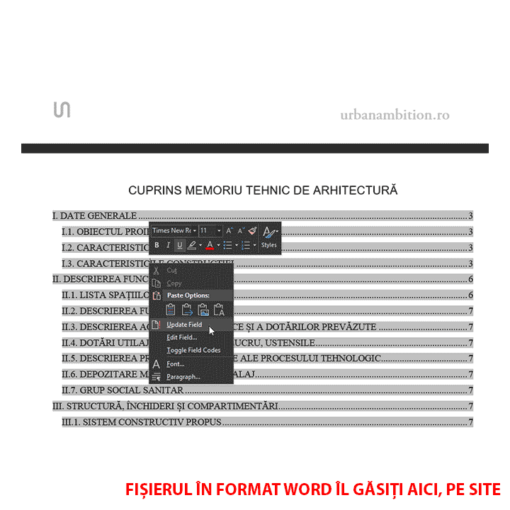 model memoriu tehnic de arhitectura update table of content cu click dreapta update field