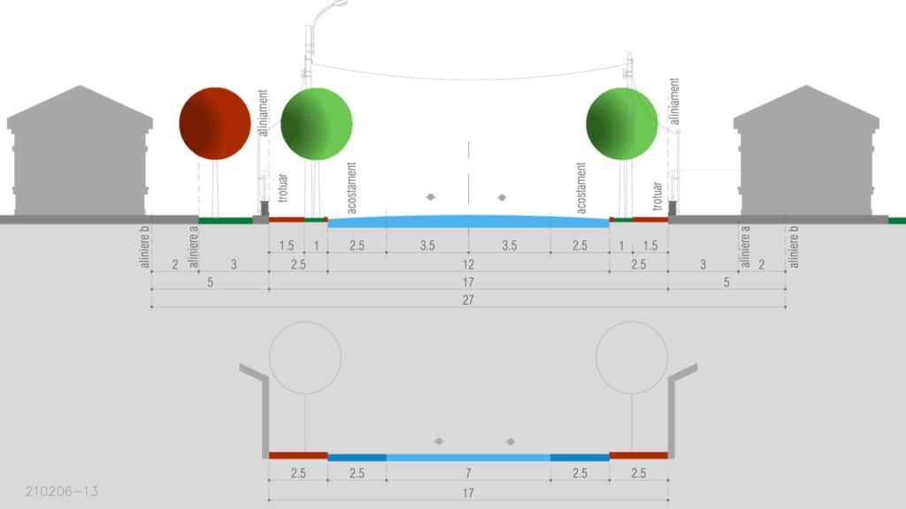 profil strada colectoare categoria 3 de 11 metri carosabil cu trotuar de 2.5 metri cu acostament de 2.5 metri