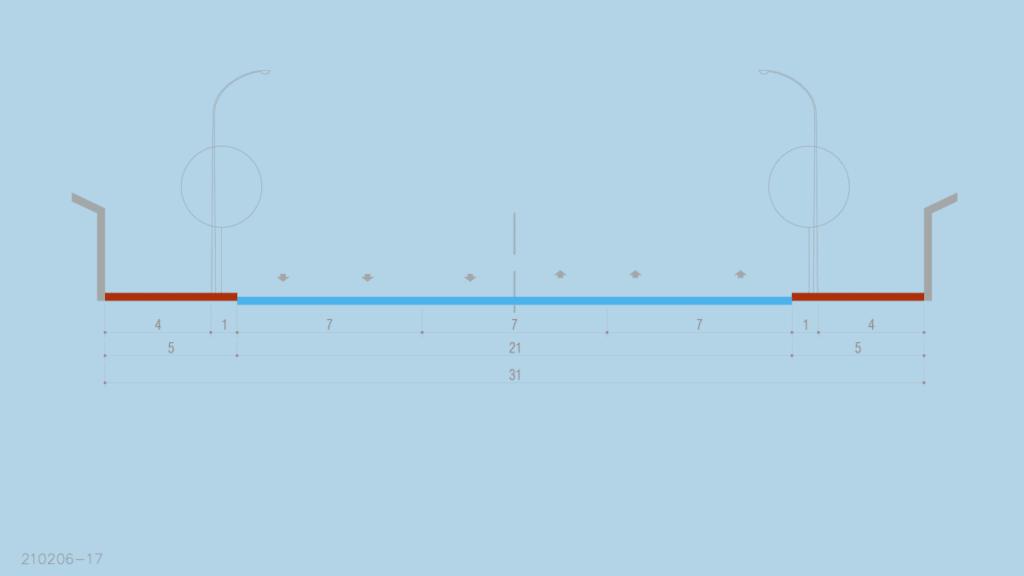 profil strada magistrala categoria 1 de 21 metri carosabil si cu trotuar de 5 metri