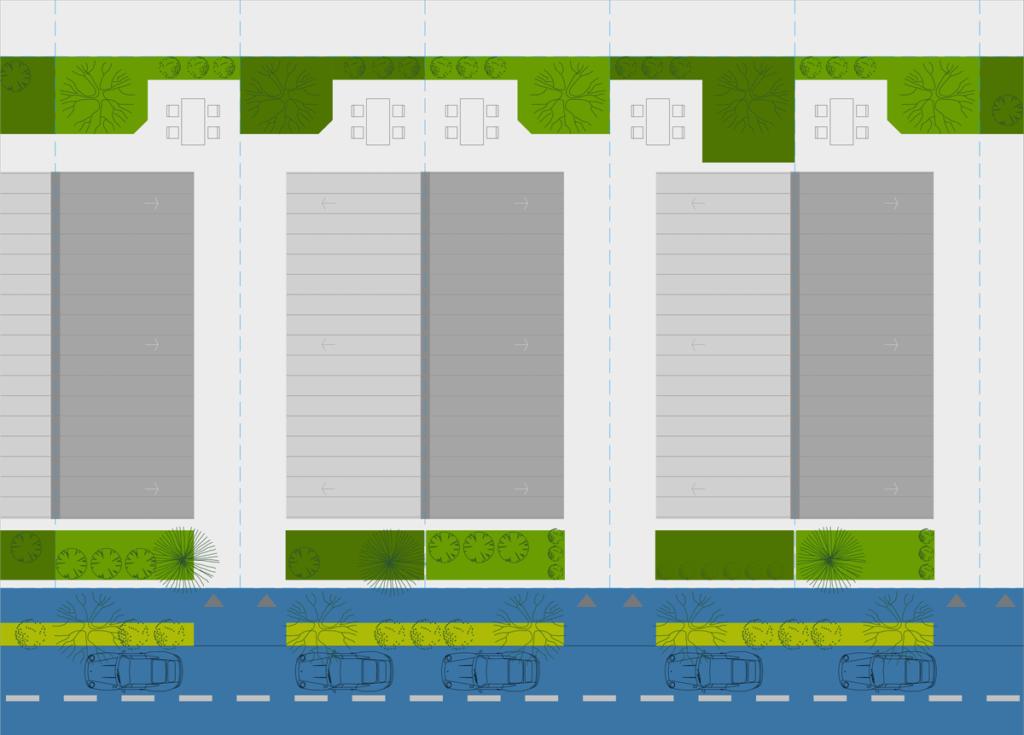 """case stil vagon cu curti laterale  """"cuplate"""",  cu mica curte in partea din spate si in fata."""
