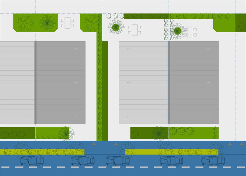 Locuințe cuplate cu grădină și curți în partea din fața și în partea din spate.