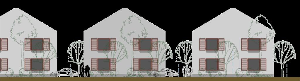 Vedere frontala fatade Locuințe cuplate cu grădină și curți în partea din fața și în partea din spate.