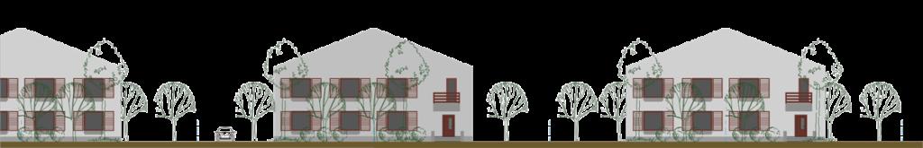 Vedere desfasurata front Locuințe cuplate cu grădină și curți în partea din fața și în partea din spate.
