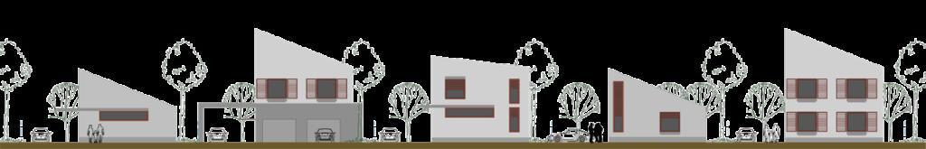 """imagine cu case e locuinte individuale Izolate """"Semi-cuplate"""" cu acoperiș într-o singură apa și deschidere spre însorire comună."""