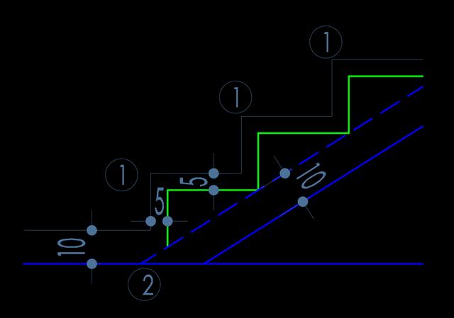 schita cu o scara cu cateva trepte , cu cote si notatii pe fundal negru cum se deseneaza scara
