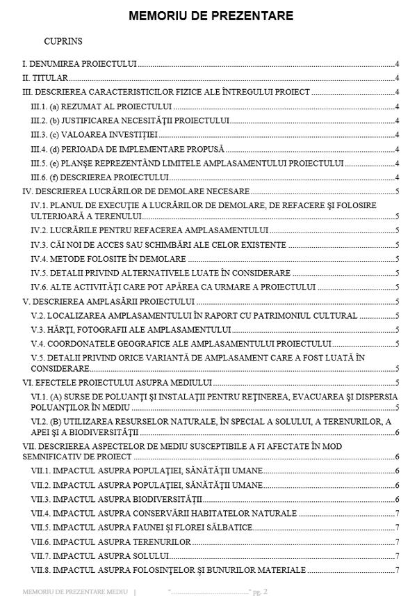 cuprins Memoriul tehnic este realizat în conformitate cu Legea nr 292/2018 privind evaluarea impactului anumitor proiecte publice și private asupra mediului, conform cu anexa 5E la procedura 01