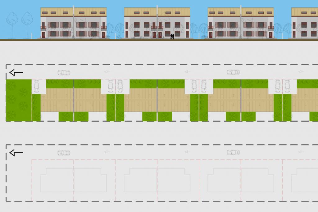 parcelare terenuri cu Lățimi Înguste pentru locuinte cuplate vedere plan de situatie si fatada principala