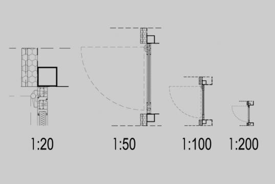 schita cu usi in plan la diferite scari de printare