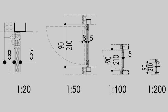 scara de printare optima schita cu patru usi desenate la scari diferite in plan 1:20, 1:50,  1:100 si 1: 200