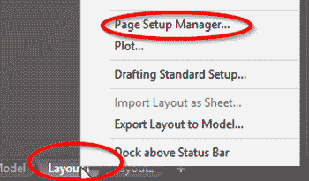 scara in autocad layout page setup manager