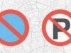 Unde ai voie sa stationezi Unde ai voie sa parchezi semn stationarea si parcarea interzisa pe fundal cu o harta stilizata a unui oras